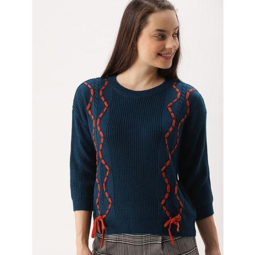 Dressberry Self Design Round Neck Casual Women Dark Blue Sweater