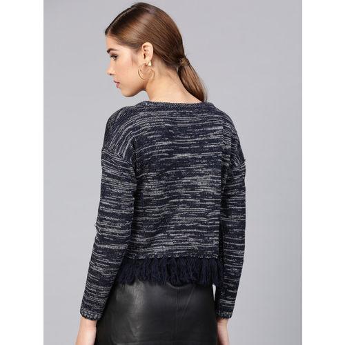 STREET 9 Women Navy Blue Self Design High-Low Pullover