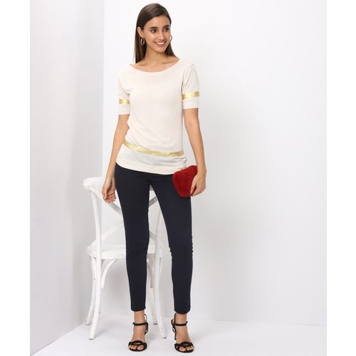 United Colors of Benetton Solid Boat Neck Casual Women White Sweater