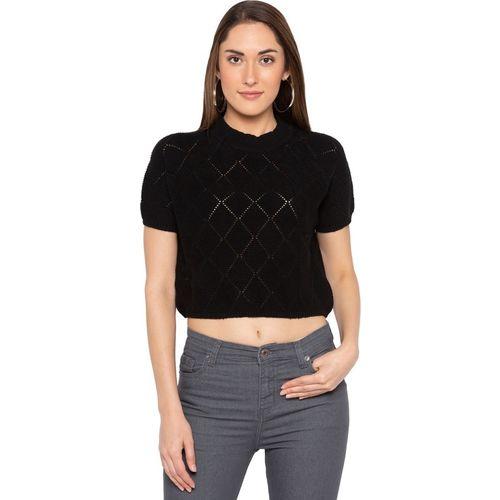 Globus Self Design Round Neck Casual Women Black Sweater