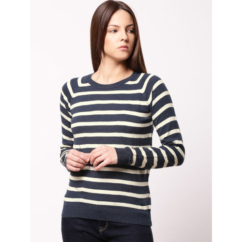 ether Women Navy Blue & White Striped Pullover