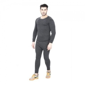 Sheomy Men's Full Sleeves Cotton Thermal Wear Top & Bottom (TH-2016_Black_Free Size)