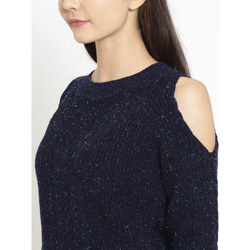 Madame Women Navy Blue Self Design Crop Pullover