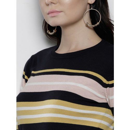 DOROTHY PERKINS Women Navy & Pink Striped Pullover