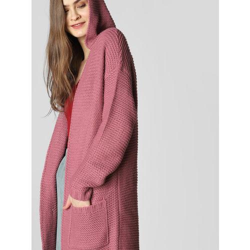 Vero Moda Women Pink Self Design Hooded Longline Sweater