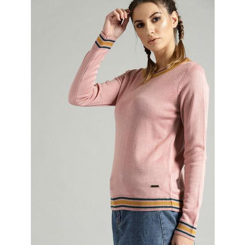 Roadster Women Dusty Pink Solid Sweater