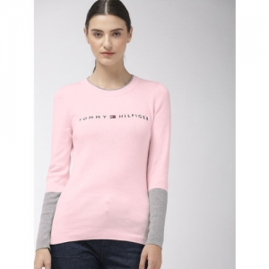 Tommy Hilfiger Women Pink Embroidered Sweater