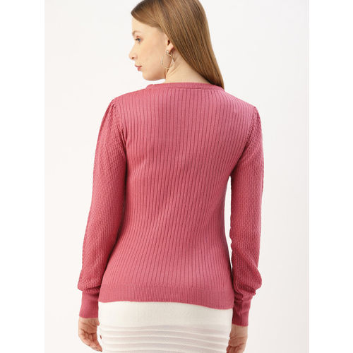 DressBerry Women Pink Sels Striped Pullover Sweater