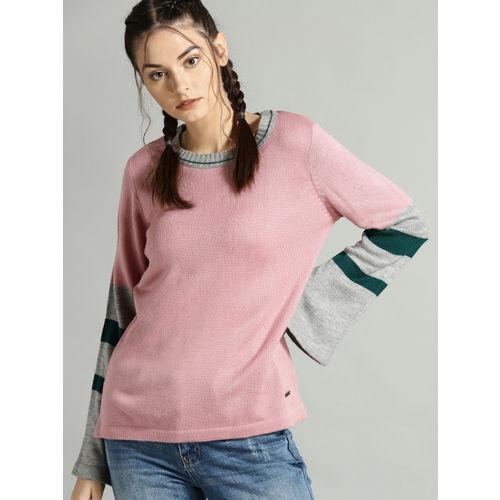 Roadster Women Dusty Pink & Grey Melange Solid Sweater