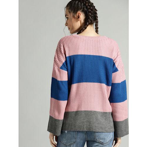 Roadster Women Dusty Pink & Blue Colourblocked Sweater