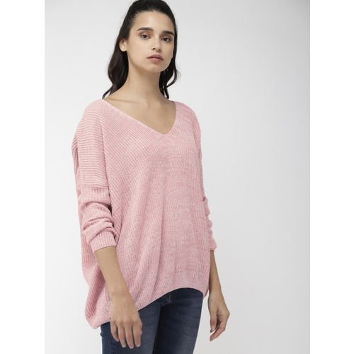 FOREVER 21 Women Pink Self Design Styled Back Sweater