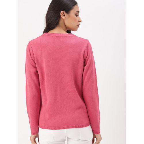 DressBerry Women Pink Self Design Sweater