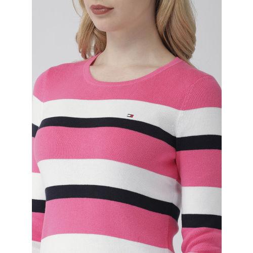 Tommy Hilfiger Women Pink & White Striped Sweater