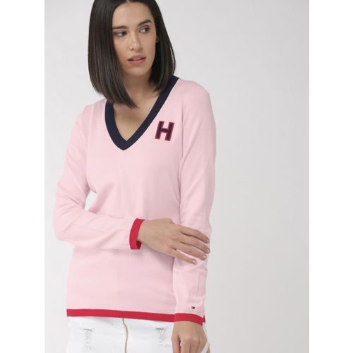 Tommy Hilfiger Women Pink Solid Pullover Sweater