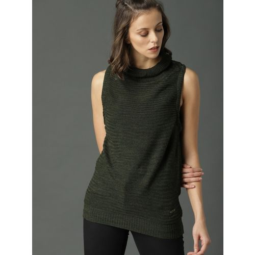 Roadster Solid Casual Women Green Sweater
