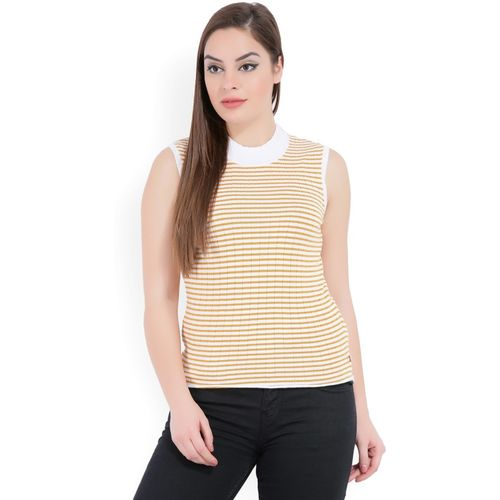 United Colors of Benetton Striped Round Neck Casual Women Yellow, White Sweater
