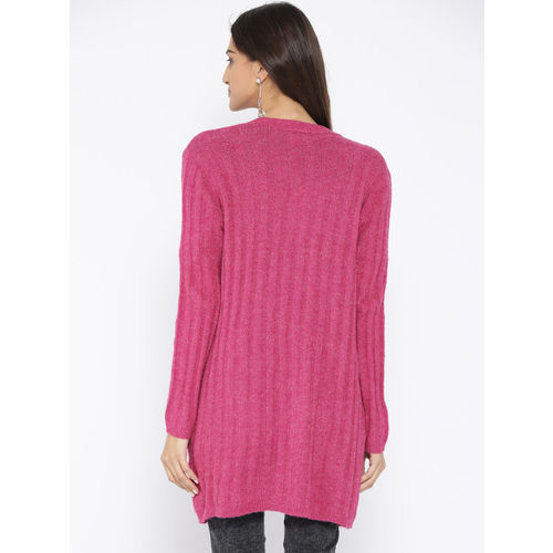 ONLY Women Pink Ribbed Front-Open Sweater