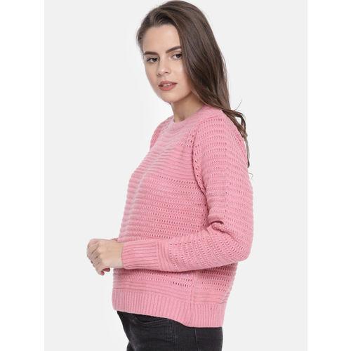 Duke Women Pink Self Design Pullover