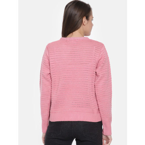 Duke Women Pink Self Design Pullover