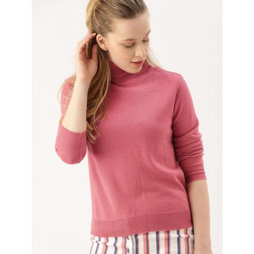 DressBerry Women Pink Solid Turtle Neck Sweater