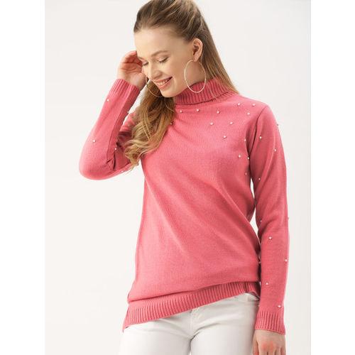 DressBerry Women Pink Solid Embellished Turtle Neck Sweater
