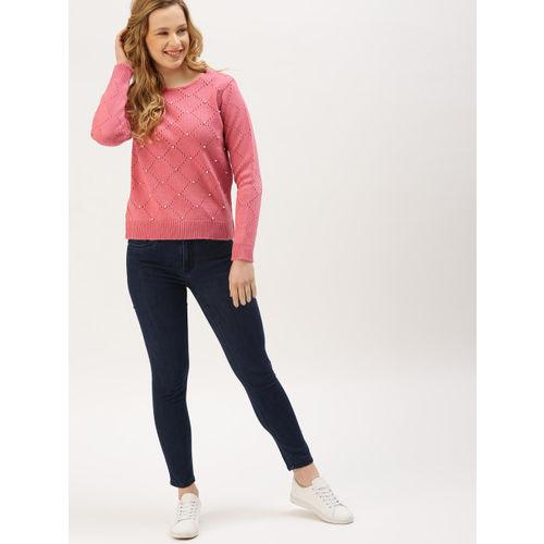 DressBerry Women Pink Self-Design Embellished Sweater
