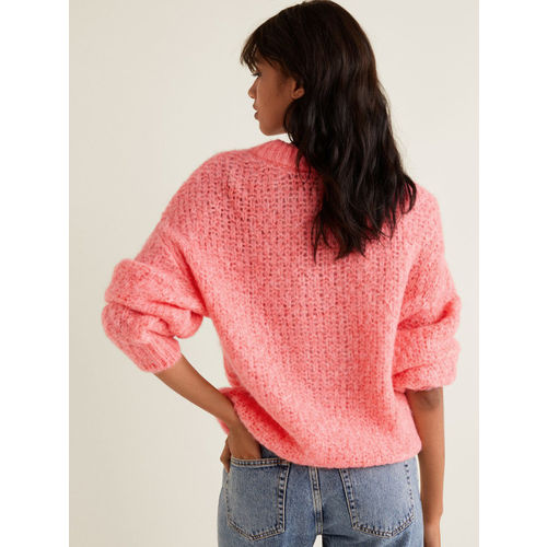 MANGO Women Pink Open Knit Sweater