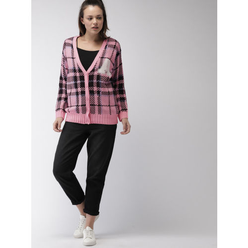 FOREVER 21 Women Pink & Black Checked Cardigan