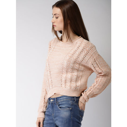FOREVER 21 Women Pink Self-Design Pullover Sweater