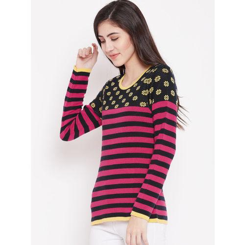 American Eye Women Pink & Navy Striped Pullover