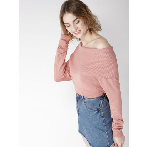 Mast & Harbour Women Dusty Pink Solid Off-Shoulder Pullover