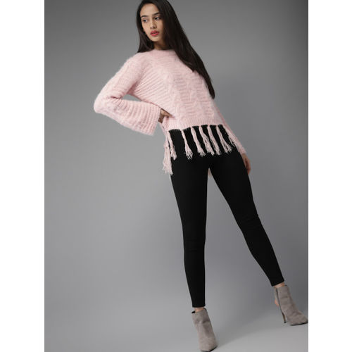 Moda Rapido Women Pink Self Design Pullover Sweater