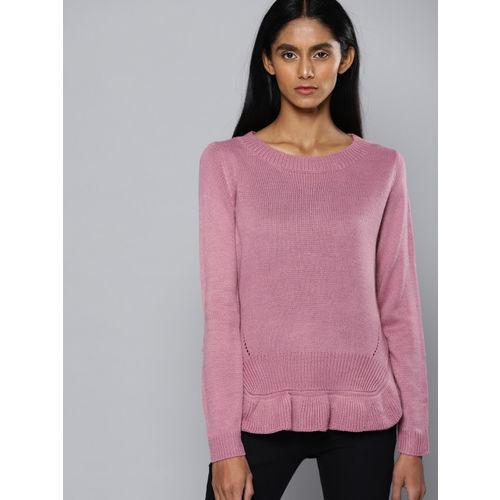 Chemistry Women Pink Self Design Pullover
