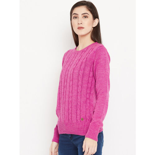 Cayman Women Pink Self Design Woollen Pullover