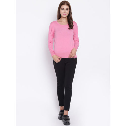 Madame Women Pink Solid Sweater