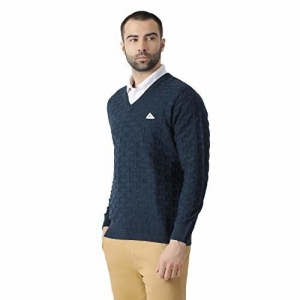 Monte Carlo Blue Solid Wool Blend V-Neck Pullover