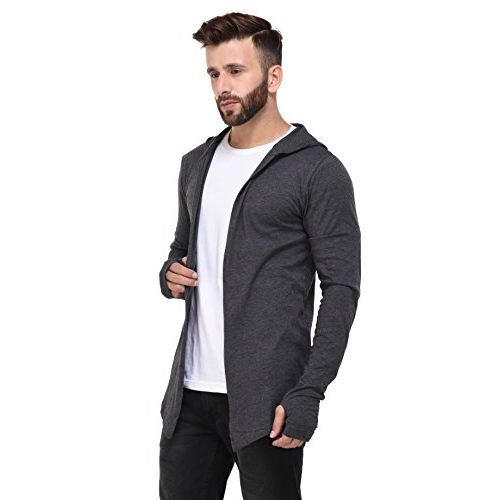 Rigo Melange Grey Open Long Cardigan Full Sleeve Shrug for Men
