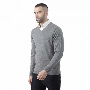 Monte Carlo Grey Solid Wool Blend V-Neck Pullover