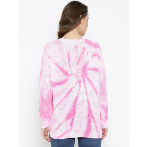FOREVER 21 Women Pink & Off-White Dyed Sweater