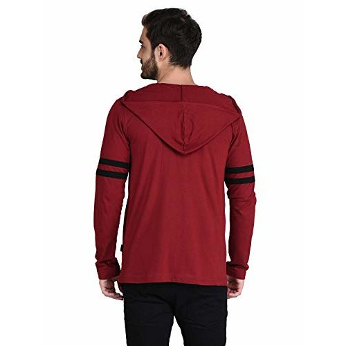 Rigo Maroon Hooded with Contrast Stripe Patch on Sleeve Open Long Cardigan- Full