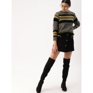 DressBerry Women Grey & Black Colourblocked Sweater