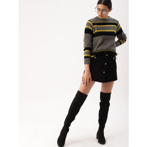 DressBerry Women Grey & Black Colourblocked Sweater