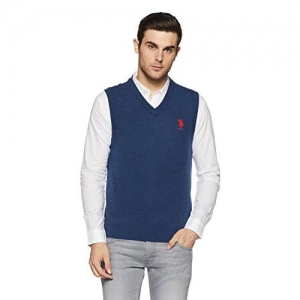 US Polo Assn. Men's Wool Sweater (8907538639790_Dark Blue Grindle_L SL)