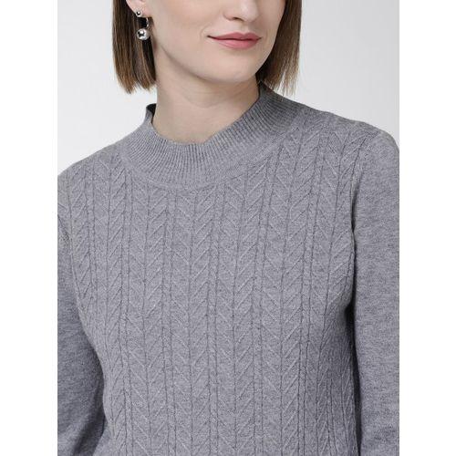 Fort Collins Women Grey Self Design Sweater