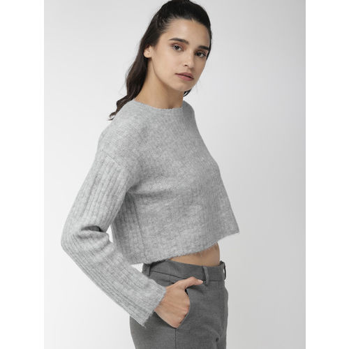FOREVER 21 Women Grey Ribbed Crop Sweater