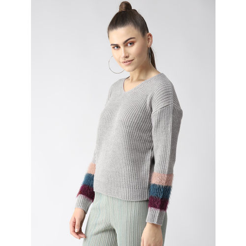 Madame Women Grey Solid Sweater