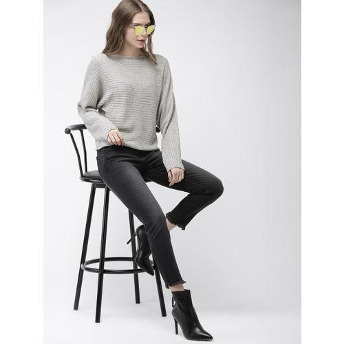 FOREVER 21 Women Grey Self-Design Lightweight Sweater