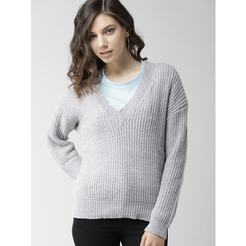 FOREVER 21 Women Grey Solid Sweater