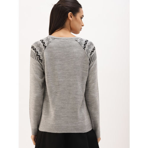 DressBerry Women Grey Self Design Sweater