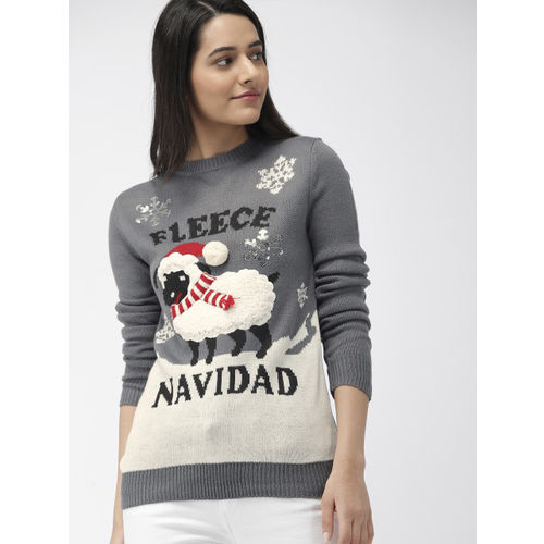 FOREVER 21 Women Grey and White Printed Sweater